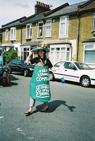 Emma promotes the free composter from the Council, Brentford Festival 2001