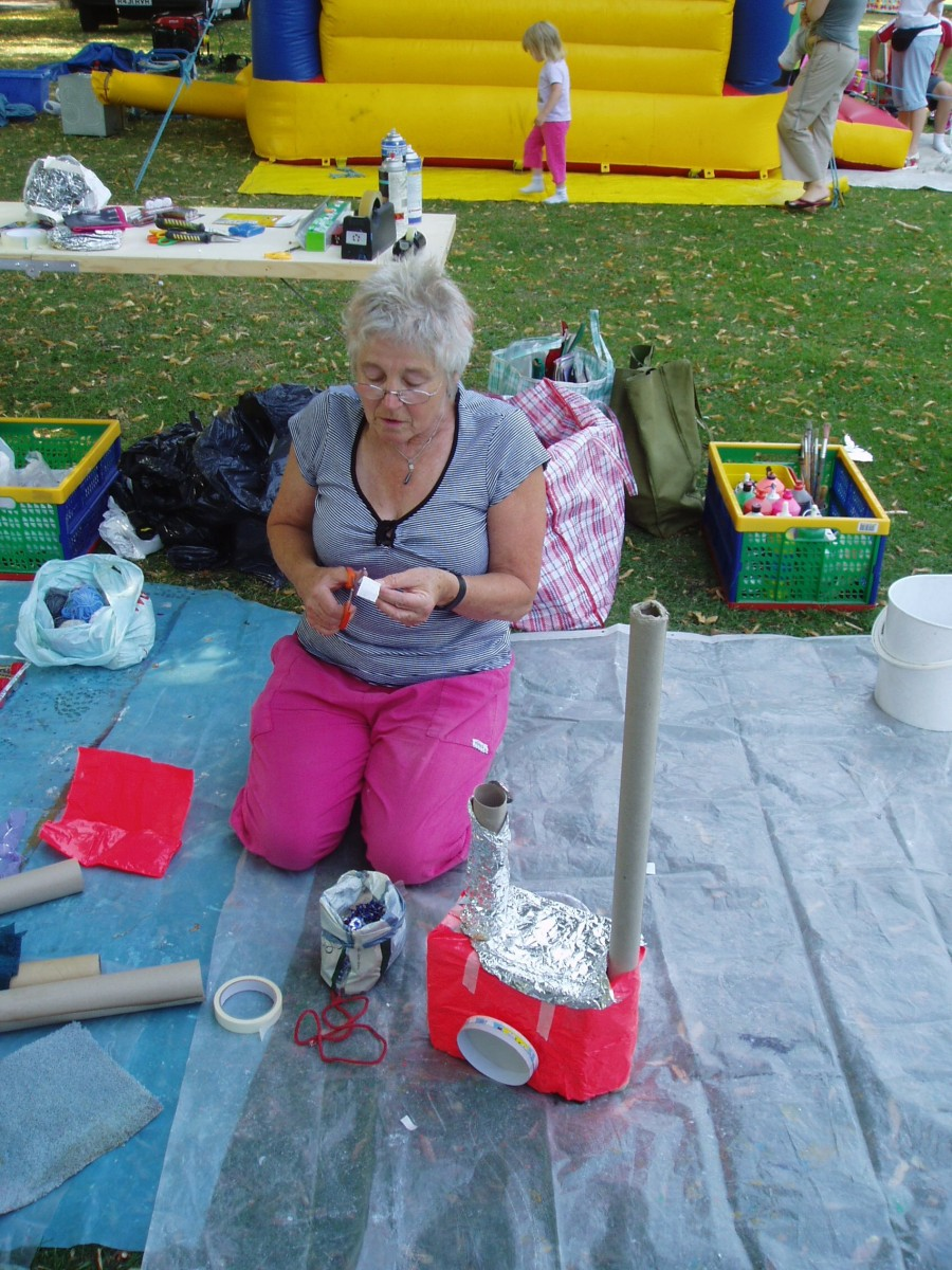 Diana preparing the artwork