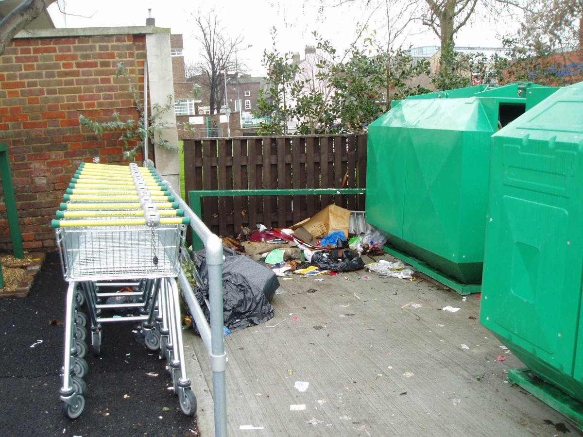 Recycling mess in Morrisons, January 2010