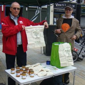 BRAG members Hugh and Douglas show off our bags
