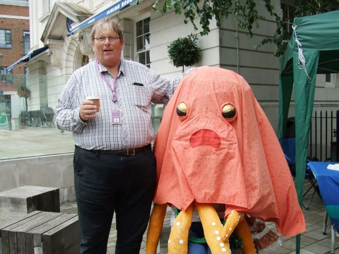 Councillor Guy Lambert with the octopus